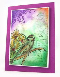 watercolor with gelatos - If I only had Design Memory Craft goodness!