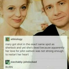 Not a JohnLock fan, but. That's gotta hurt. Sherlock Fandom, Sherlock John, Sherlock Holmes Benedict, Sherlock Quotes, Jim Moriarty, Supernatural Fandom, Funny Sherlock, John Watson Bbc, Sherlock Season 4