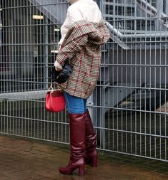 Burgundy Boots, Red Boots, Houndstooth Jacket, Equestrian Boots, Knee High Boots, Leather Boots, Fashion Backpack, My Style, Womens Fashion