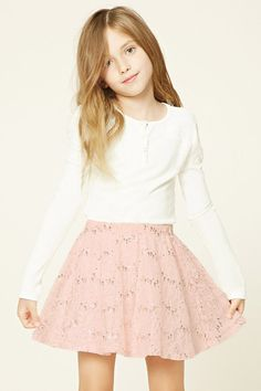 Forever 21 Girls - A woven floral lace skirt featuring an allover sequin detailing and an elasticized waistband.