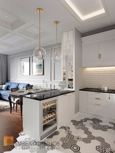 кухня гостинная 178 кв метров дизайн фото с холодильником 2