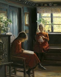 """Afternoon Pastimes"" - Knud Erik Larsen ~ A girl reading a book here, too Reading Art, Woman Reading, Kids Reading, Reading Books, Alter Computer, Kunst Poster, Beautiful Paintings, Oeuvre D'art, Love Art"