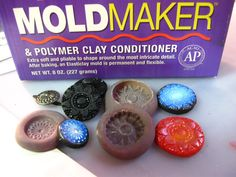 Made these flexible molds to create polymerclay buttons dusted with mica powders...