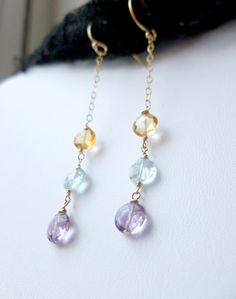 Amethyst, Blue Topaz, Citrine Coin wirewrapped earrings. $26.00, via Etsy.