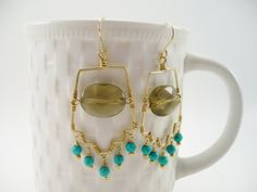 Gold Earrings Turquoise Aztec Bohemian Smokey by ArtbyCateJewelry, $65.00