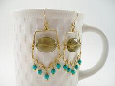 Gold Earrings Turquoise Aztec Bohemian Smokey by ArtbyCateJewelry, $65.00