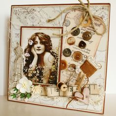 Moias hobbyblogg: Vintage card with sewing theme..