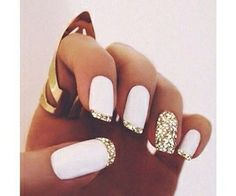 White matte polish & gold glitter french tips nail design. unghie gel The post Super stylish nail art! White matte polish & gold glitter french tips nail desig… appeared first on Nails . Gorgeous Nails, Pretty Nails, Perfect Nails, Fabulous Nails, Hair And Nails, My Nails, Polish Nails, Bling Nails, Bling Bling