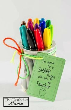 15 Unique Mason Jar Teacher Gifts via http://www.TheKimSixFix.com