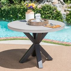 Carina Outdoor Modern Lightweight Concrete Circular Dining Table with Cross Base – Tabby Restaurant Round Concrete Dining Table, Circular Dining Table, Round Dining, A Table, Outdoor Tables, Outdoor Dining, Outdoor Decor, Outdoor Furniture, Extension Table