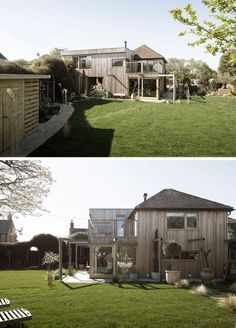 Paul Cashin Architects has designed a wood covered addition for a cottage on the south coast of England, overlooking Chichester Harbour. British Architecture, Timber Structure, Old Cottage, Wood Siding, Living Environment, Indoor Outdoor Living, Home Additions, England, House Styles