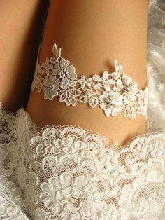 bridal garter wedding garter off white lace garter by annabrides, $21.90