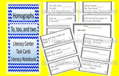 Homographs to, too, two are the feature of these task cards.  This is suitable for a Literacy Center or as inserts for an Interactive Notebook.