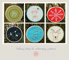 More advent calendar stitching ideas. Tutorial - Christmas hoop patterns, by Kirsty Neale at The Makerie.