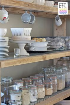 kitchen pantry shelves - open stainless steel for hanging