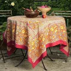 cff1d0af548d Couleur Nature Jardine Rectangle Tablecloth (Red Yellow Rectangle -  71-inches by 128