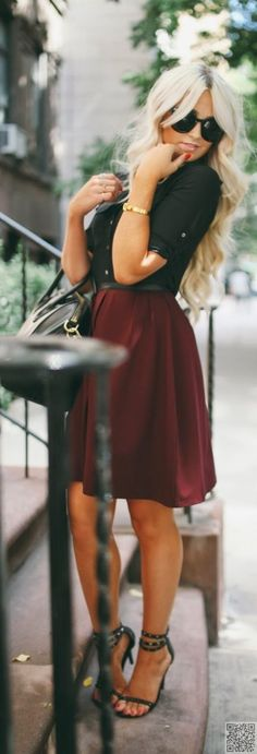 9. #Black and Oxblood - 39 #Fabulous Date Night #Outfit Ideas ... → #Fashion #Dress
