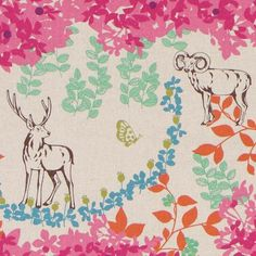 echino laminate fabric woodland stag pink from Japan
