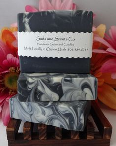 BLACK TIE Scented Moisturizing Handmade body soap. Handcrafted using the cold process method with Goats Milk, Buttermilk Activated Charcoal by SudsNScentsCo on Etsy