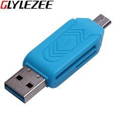 Glylezee 2 en 1 adaptador del lector de tarjetas de otg con micro usb del teléfono móvil tf/sd puerto cabeceras de extensión de teléfono