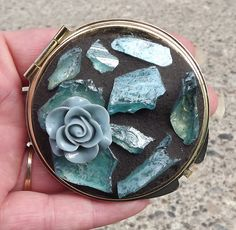 Blue Rose Mosaic Make Up Mirror by PiecesofhomeMosaics on Etsy, $28.99