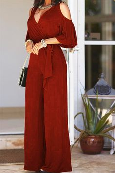 We're borderline obsessed with this ultra cool elegant jumpsuit definitely one of our new favorites! This is a plain, short sleeve, v neck, all-in-one jumpsuit. This regular jumpsuit is made from polyester Red Fashion, African Fashion, Fashion Dresses, Fashion 2020, Fashion Women, Fashion Brands, Blue Jumpsuits, Jumpsuits For Women, Playsuits