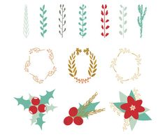 Christmas decor elements: branches, leaves, flowers, berries, wreaths. Vector illustration.  eps, instant download