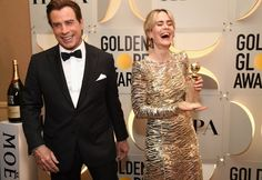 Inside the Golden Globes: John Travolta and Sarah Paulson in Marc Jacobs Golden Globe Award, Golden Globes, John Travolta, Interesting Faces, Red Carpet Looks, Blake Lively, Cool Pictures, Most Beautiful, Fashion Photography