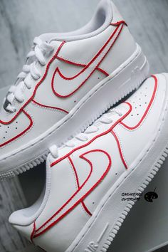 Nike Air Force 1 custom - Red Lines by sneakeaze Air Force 1, Nike Air Force, Jordan 1 Red, Streetwear Men, Kicks, Sneakers Nike, Paint, Closet, Outfits