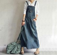 Details about Women's Loose Denim Full Length Dress Maix Long Suspender Jean Dress in 2020 Suspender Jeans, Suspender Dress, Jumper Dress, Jeans Dress, Denim Dresses, Denim Overalls, Denim Skirt, Mode Sombre, Denim Ideas