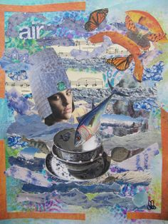 blue china - mixed media collage - acryl - paper
