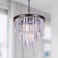 Five-Light Antique Black Chandelier With Crystal Glass Prisms #chandelier