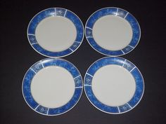 GIBSON EVERYDAY MARBLE CLASSIC BLUE  DINNER PLATES - SET OF 4 #Gibson