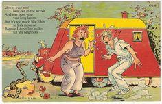 Snake Woman Travel Trailer Park Camp Vintage 1937 Curteich Linen Comic Postcard | eBay