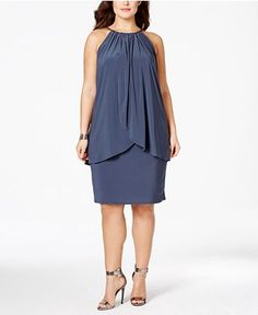 Betsy & Adam Plus Size Embellished Overlay Halter Dress - Dresses - Women - Macy's