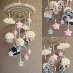 mobile for my niece 😊 crocheting crochet crochetmobile babymobile crochetsheep crochetcloud crochetstar häkelmobile schaf wolke… Crochet Baby Mobiles, Crochet Mobile, Crochet Baby Toys, Baby Girl Crochet, Baby Knitting, Crochet Sheep, Crochet Stars, Baby Kranz, Amigurumi Patterns
