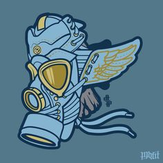 Denim Wings Gas Mask vector for Rosewood San Diego
