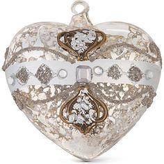 CHRISTMAS Antique silver heart bauble 9cm