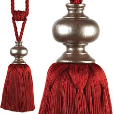 Rolls Cache Rope Curtain Tieback, Red & Pewter