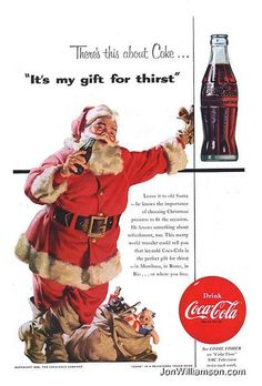 Items similar to Vintage Christmas Coke Ad - 1954 Santa Claus with Bag of Toys - Haddon Sundblom - Cold Coca Cola Holiday Illustration Print Art Wall Decor on Etsy Coca Cola Poster, Coca Cola Ad, Always Coca Cola, Coke Santa, Coca Cola Santa Claus, Santa Clause, Vintage Coca Cola, Coca Cola Christmas, Vintage Christmas