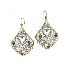 Faux-Gold Contour Rhinestone Drop Accent Earrings