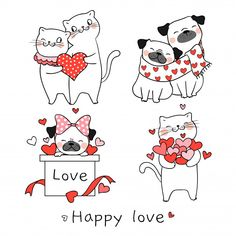 Draw Vector Illustration Collection Portrait Cute Stock Vector (Royalty Free) 1241638102 : Draw vector illustration collection portrait cute cat and pug dog with little heart for valentine day.Isolated on white. Doodle Cartoon, Cartoon Drawings, Cute Cartoon, Valentines Day Cartoons, Valentine Cartoon, Valentines Day Drawing, Valentines Art, Valentines Illustration, Christmas Drawing
