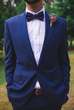 Blue groom suit with pink polka dot bow tie | Angela Rose Photography