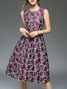 Love the color! Purple Crew Neck A-line Printed Sleeveless Midi Dress