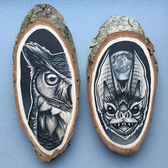 Netherlands-based artist Kirsten Roodbergen celebrates the organic beauty of a wooden canvas with her bold, nature-themed drawings. Working on small slices of cross-sectioned tree trunks, she uses acrylic and Copic markers to depict creatures such as bats, wolves, owls, and moths. Each hand-crafted creation covers the wood's inner rings, yet the design follows its natural shape with one-of-a-kind bark framing. Roodbergen is skilled in several types of artistic media. In addition to tree…