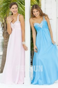 A-line Sweetheart One-shoulder chiffon ball gown