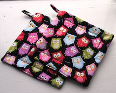 Handmade Quilted Pot Holders Owl Set of 2. $13.00, via Etsy.