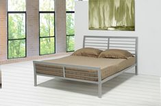 Create a casual contemporary feel in your bedroom with this queen iron bed. The clean horizontal lines of the silver metal headboard and footboard offer a relaxed attractive style. The simplicity of this queen metal bed will allow you to rest easy. Iron Headboard, Bed Frame And Headboard, Queen Headboard, Bed Frames, Diy Headboards, Queen Size Platform Bed, Metal Platform Bed, Coaster Furniture, Bedroom Furniture