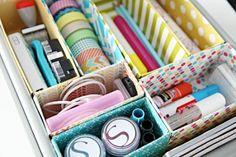 Lindos modelos e dicas de organizadores de gavetas, que são super baratos e fáceis de fazer.