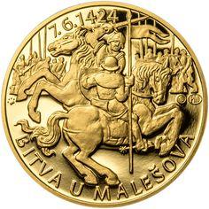 BITVA U MALEŠOVA - 590. VÝROČÍ ZLATO Coins, Personalized Items, Love, Coining